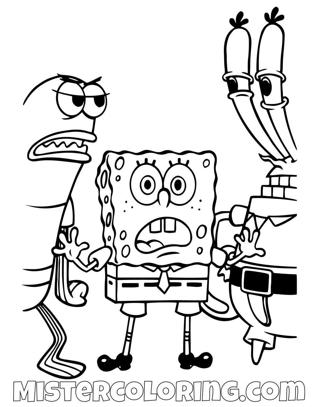 Spongebob Separating A Fight Spongebob Squarepants Coloring Pages For Kids Kleurplaten Voor Kinderen Spongebob Squarepants Kleurplaten