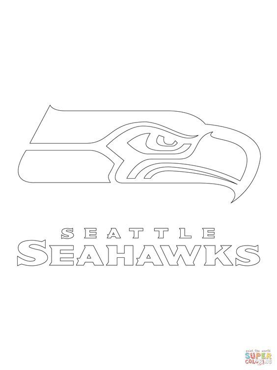 seattle seahawks logo coloring page supercoloringcom