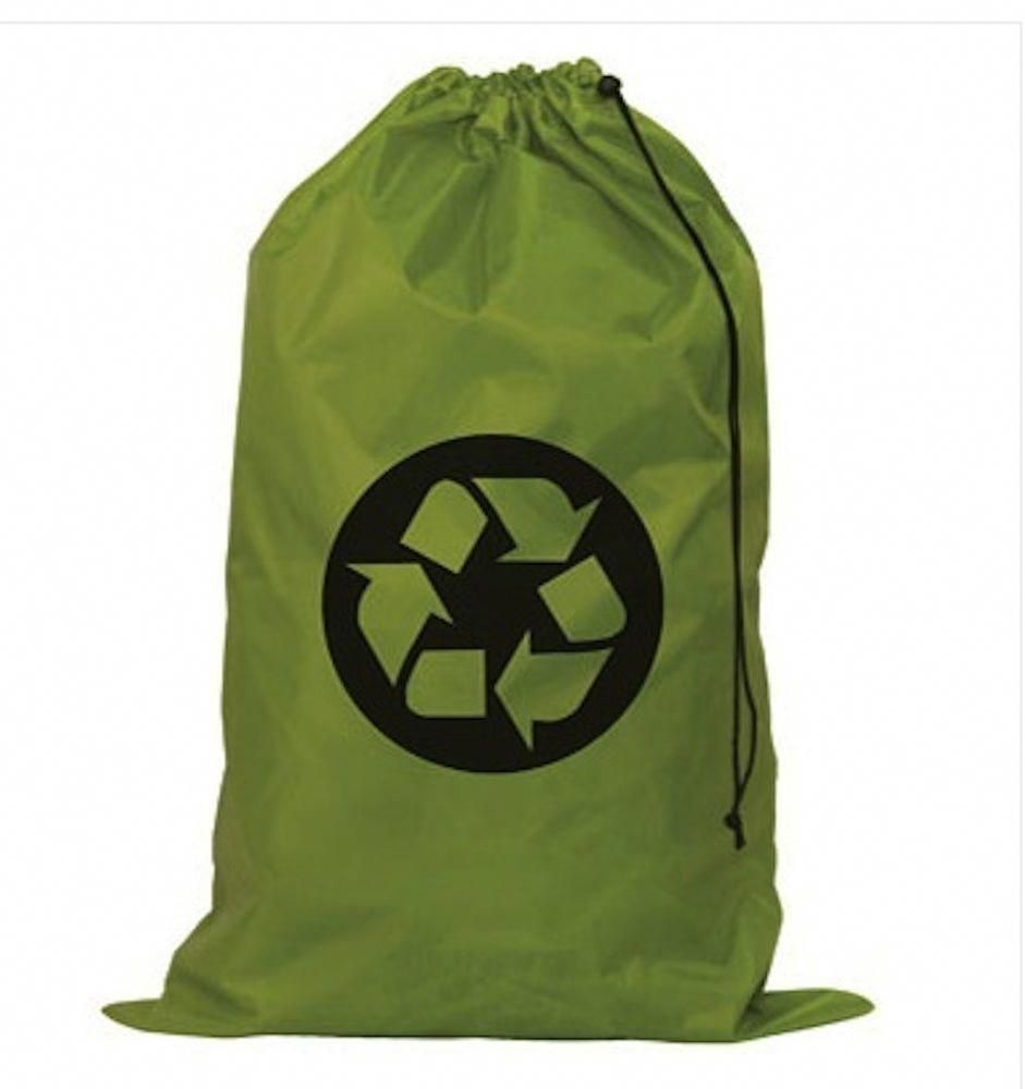Laundry Bag Recycle Sign On Green Nylon Eco Friendly Laundry Bag
