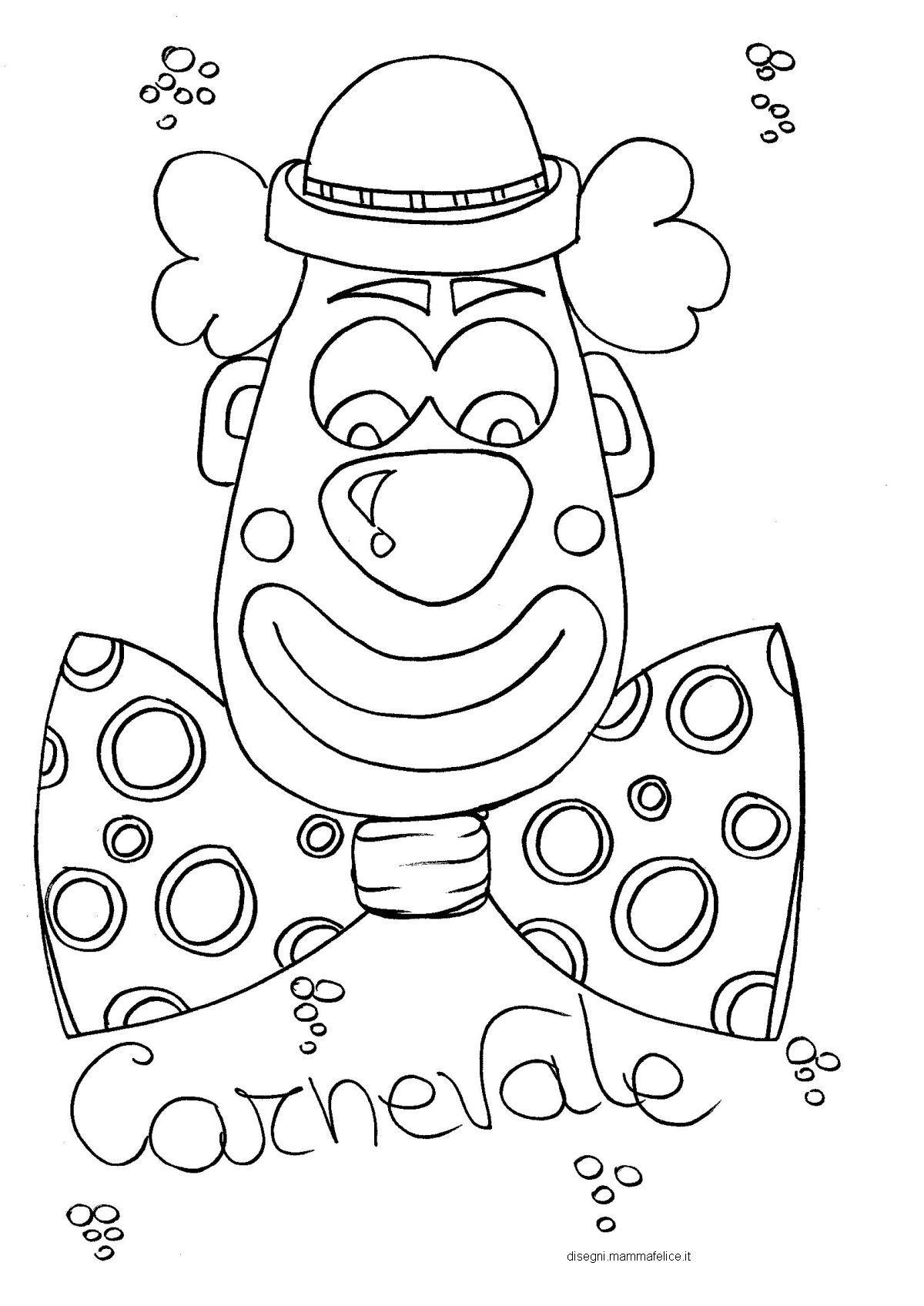 Disegno Da Colorare Sul Carnevale Faccia Da Pagliaccio αποκριεσ