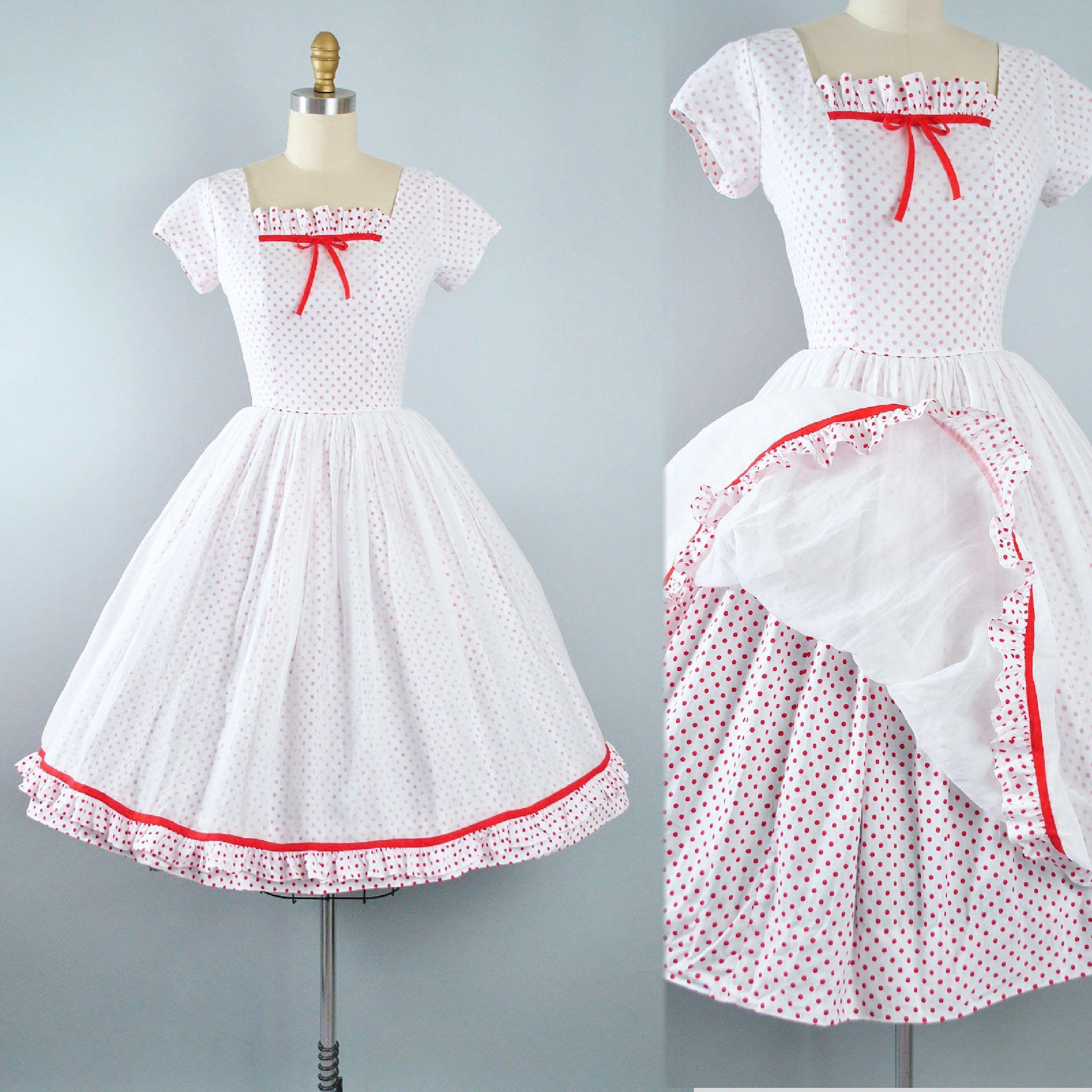 RESERVED 50s Dress / 1950s Cotton Sundress Lana Lobell Red Polka ...