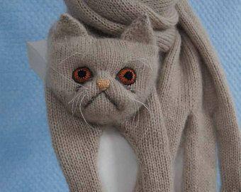Bufanda gato persa bufanda tejido animal gato amante for Tejido persa