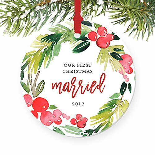 Just Married Ornament 2017 Christmas Gifts For Newlyweds Our First Ch First Christmas Together Ornament Engagement Christmas Ornament First Christmas Married
