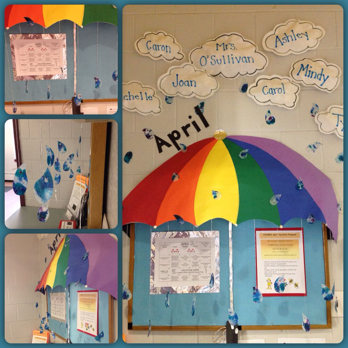 April Showers Bulletin Board Stuffed Paper Clouds Wax Paper Crayon Raindrops And 3d Umbrella April Bulletin Boards Bulletin Boards Paper Clouds