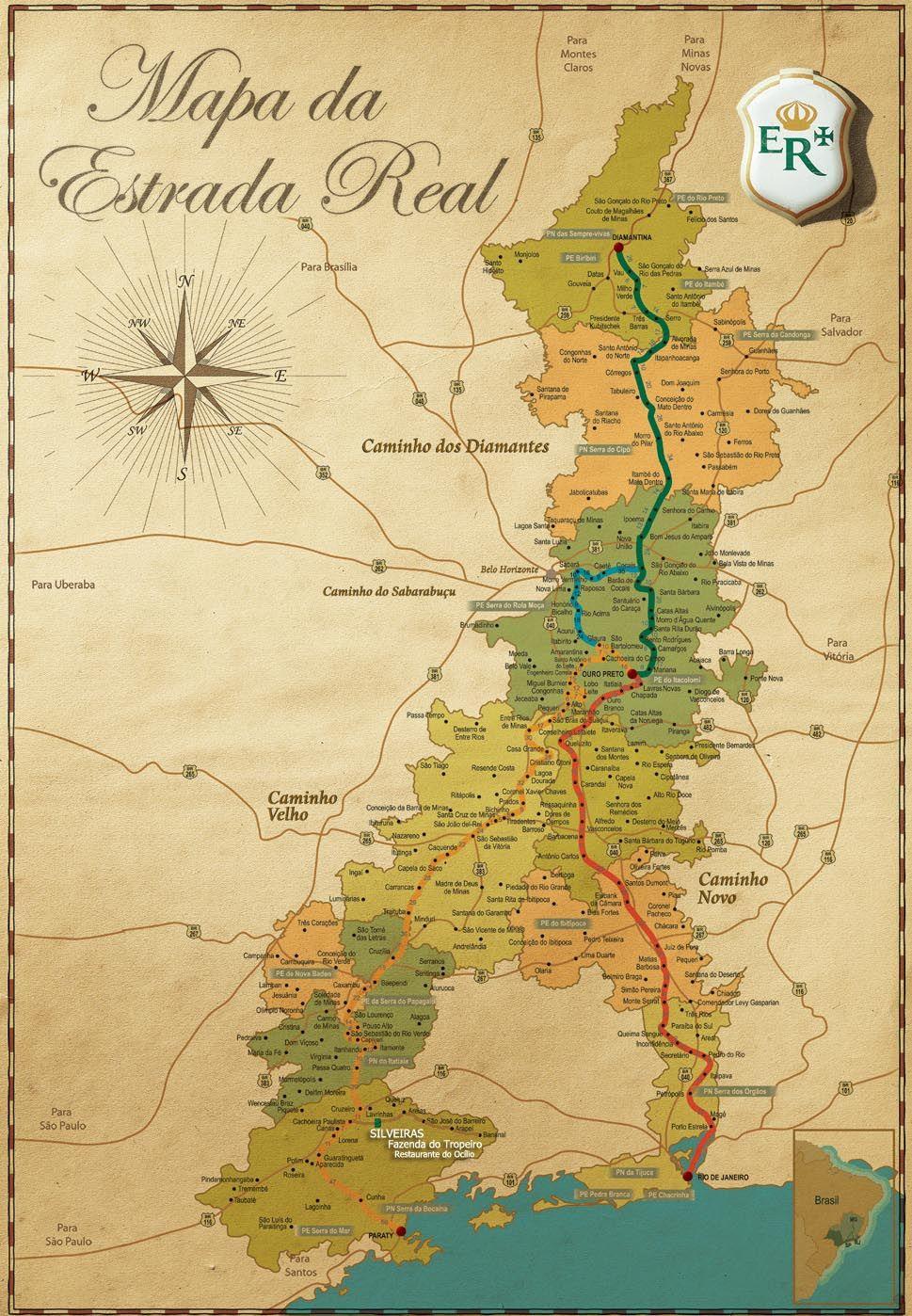 mapa da estrada Mapa da Estrada Real.   Old Maps in 2018   Pinterest   Map, Places  mapa da estrada