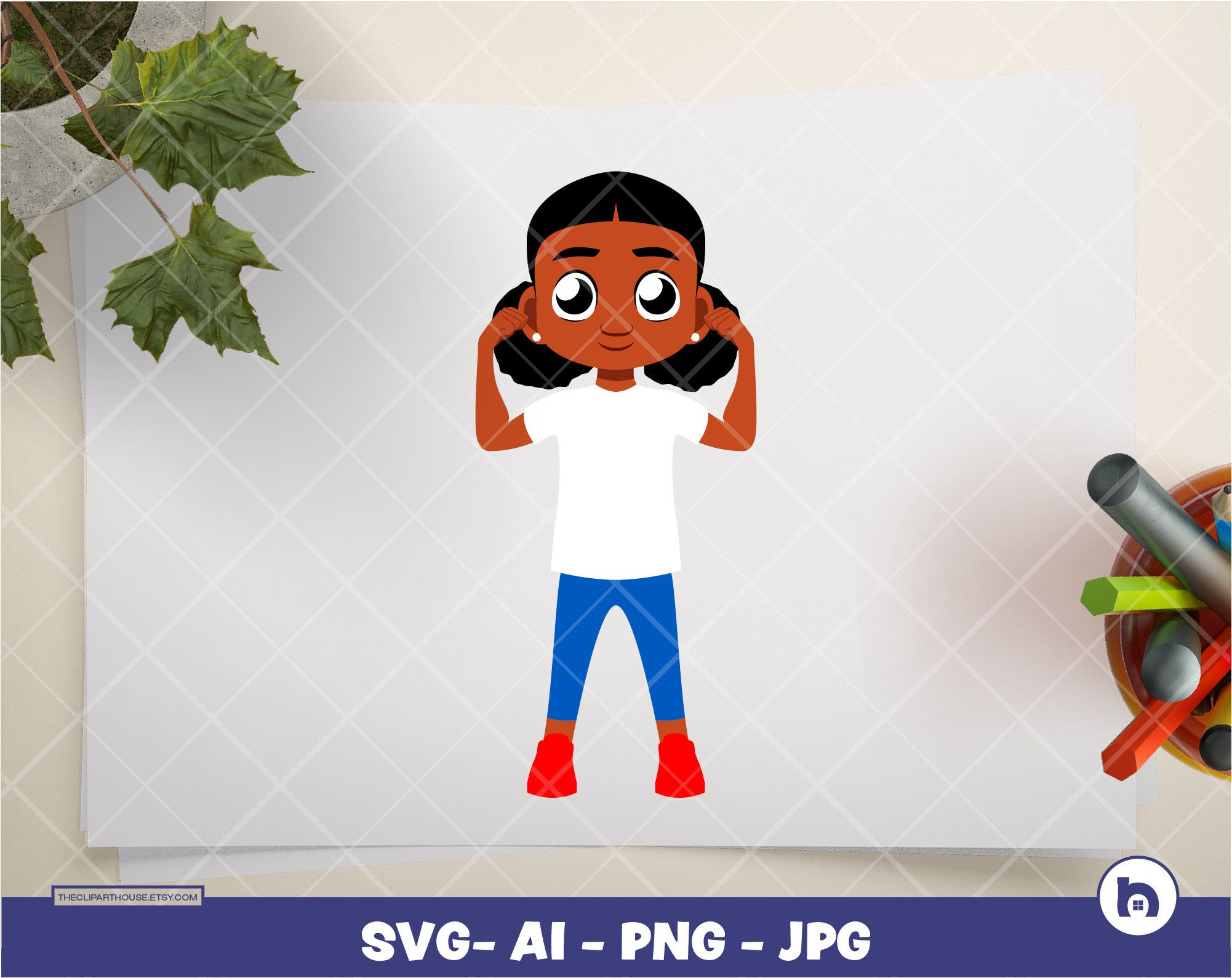 Black Kid Girl Flexing Digital Png Ai Svg Jpg Etsy Svg Kids Black Kids Happy Kids