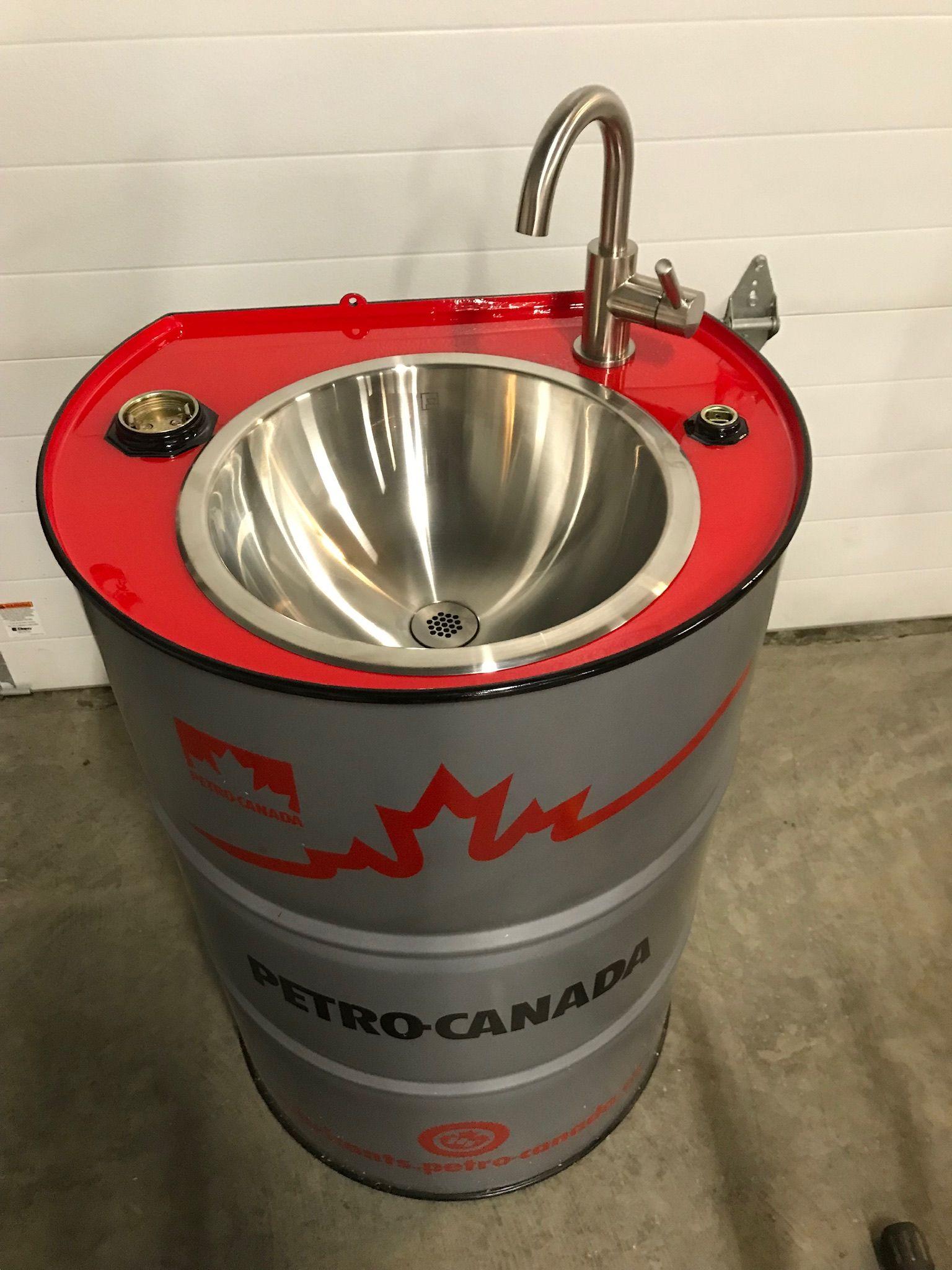oil drum sink oficina de garagem