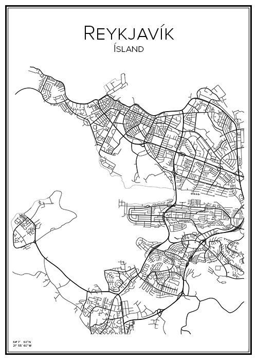 Reykjavik Map Art Reykjavik Map City Maps
