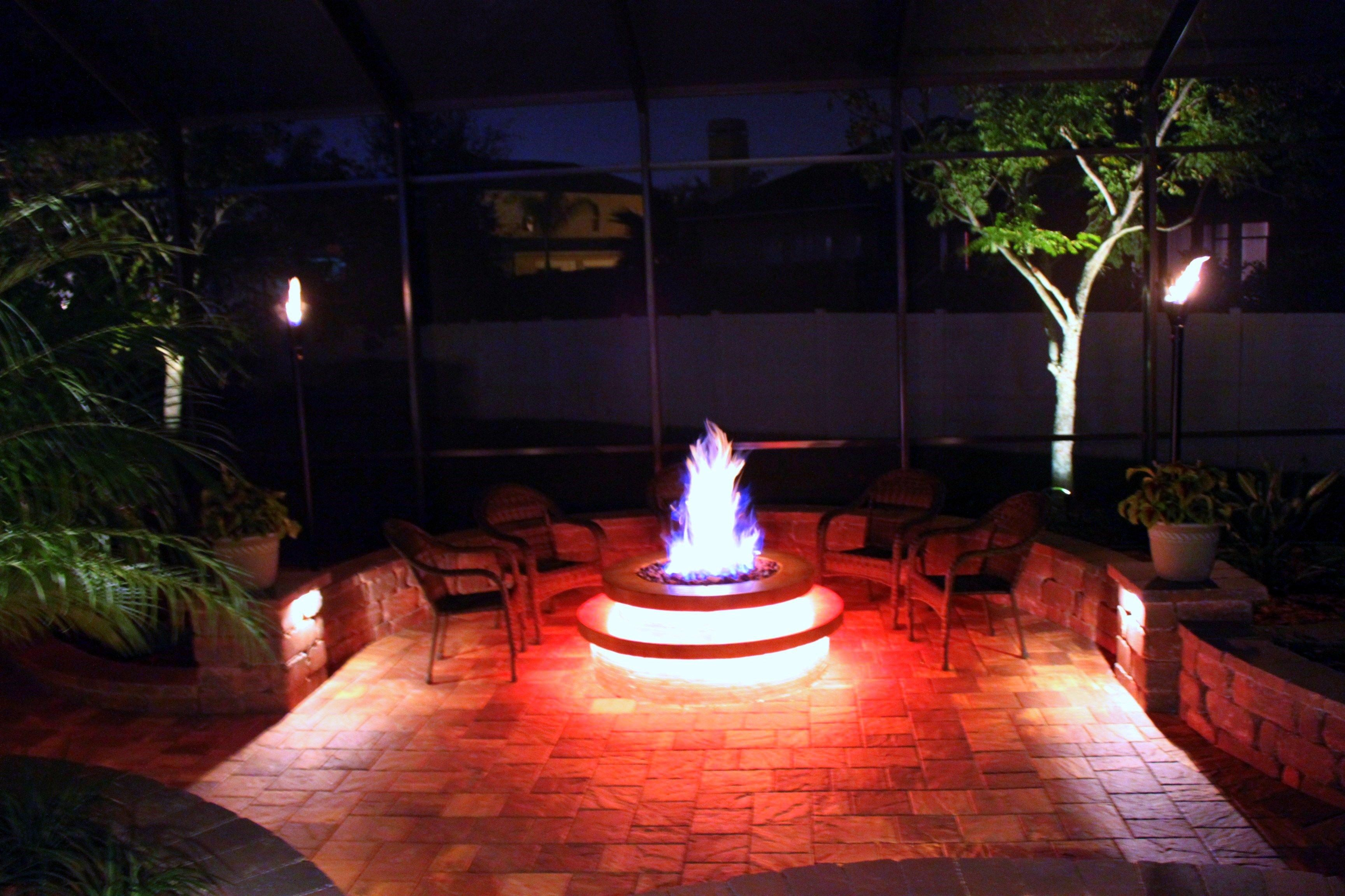 Fire Pit And Torches With Led Lights Fire Pit Patio Modern Fire
