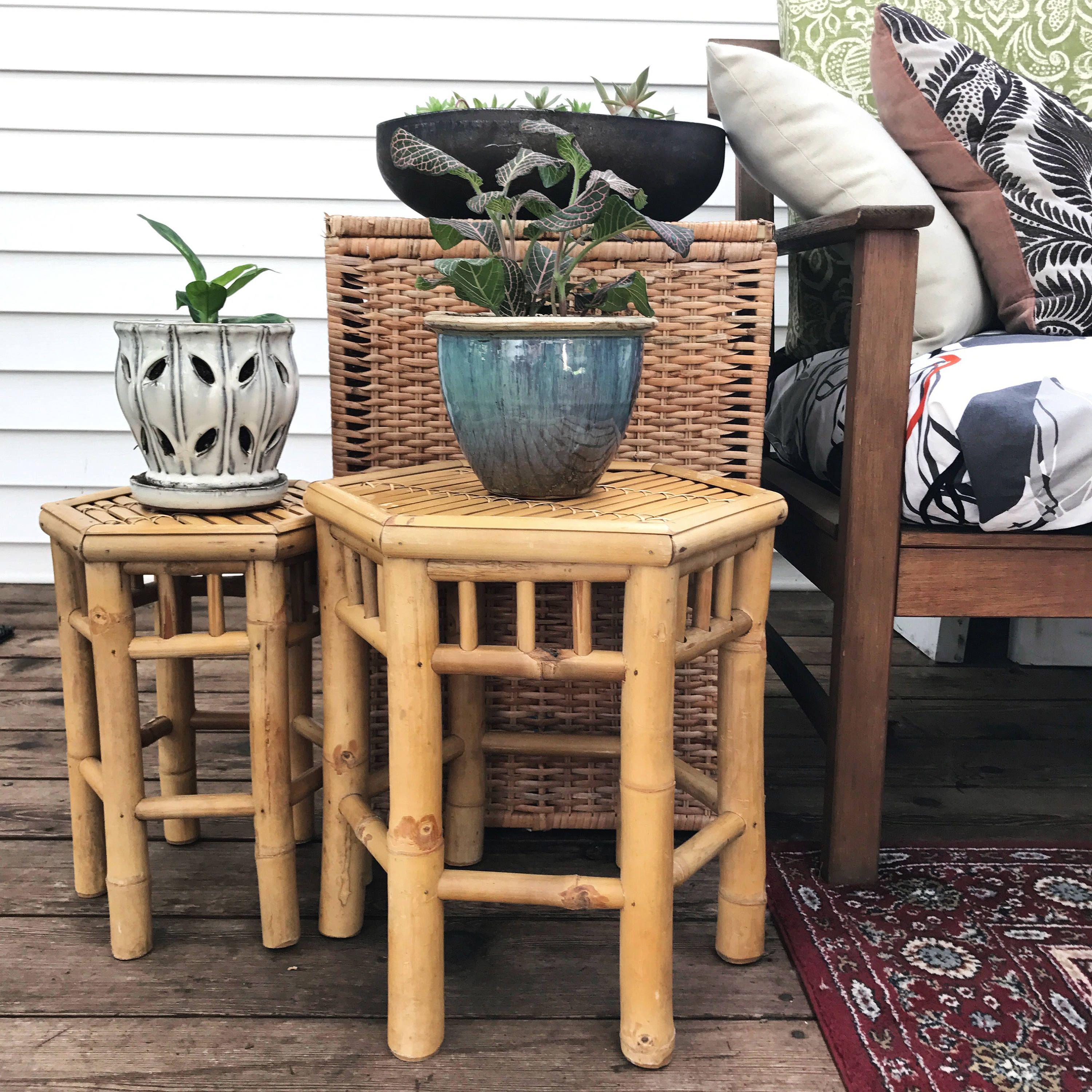 Astounding Vintage Bamboo Plant Stand Octagon Rattan Side End Table Home Interior And Landscaping Ologienasavecom