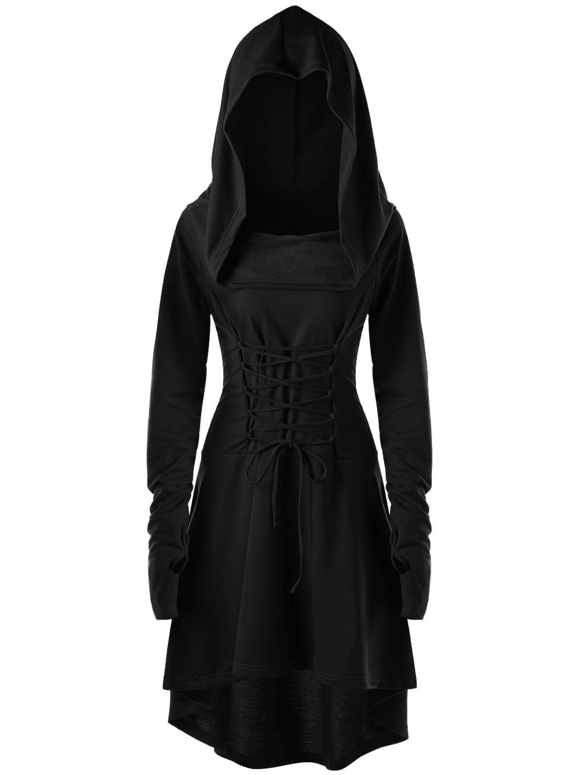 Womens Gothic Punk Lace Up Dress,Loose Hoodies Dress Cloak Costumes Vintage High Low Bandage Sweatshirts Tunic Tops