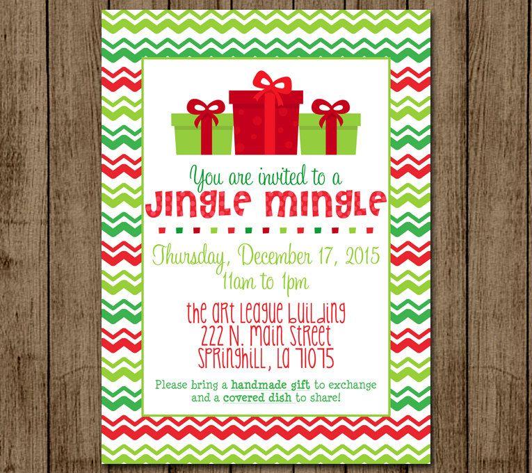 Customized Christmas Party Invite Jingle Mingle Invitation Chevron ...