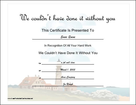 This certificate recognizes hard work by a volunteer features a this certificate recognizes hard work by a volunteer features a scenic lighthouse design free to download and print yelopaper Choice Image
