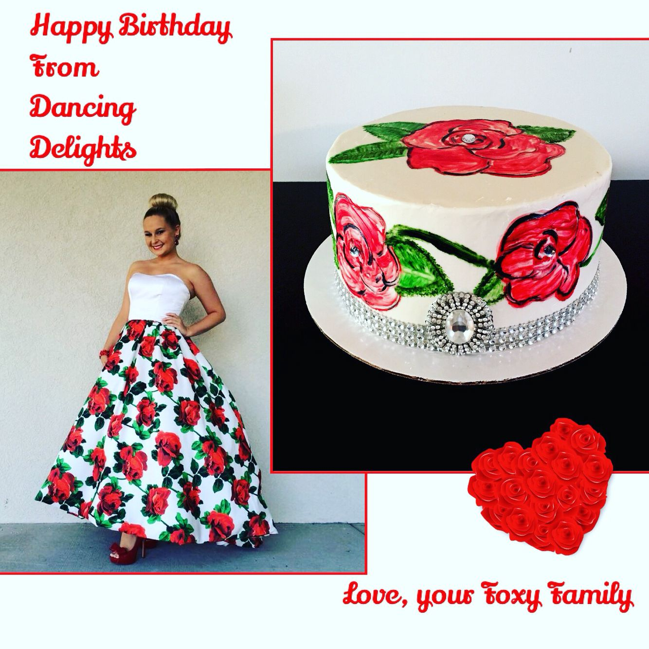 I made this Red Velvet cake for a girl who loved her Red rose floral Sherri Hill dress.