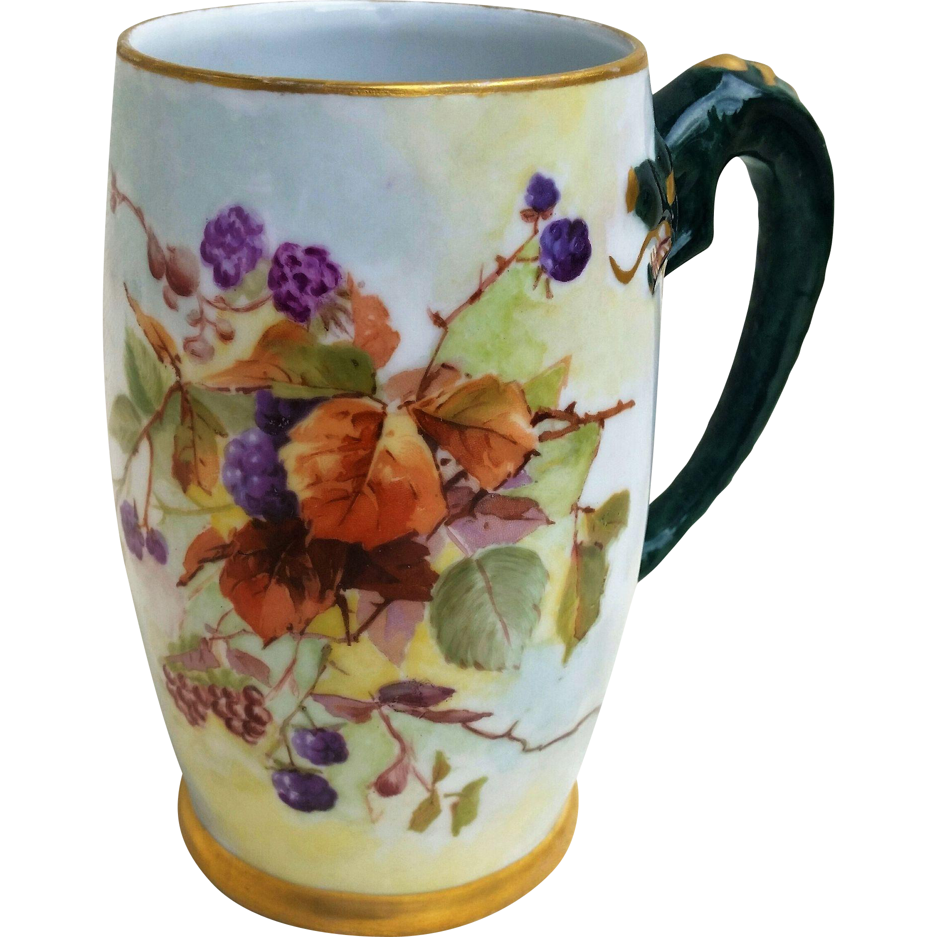 """Beautiful Limoges France 1900' Hand Painted """"blackberry"""