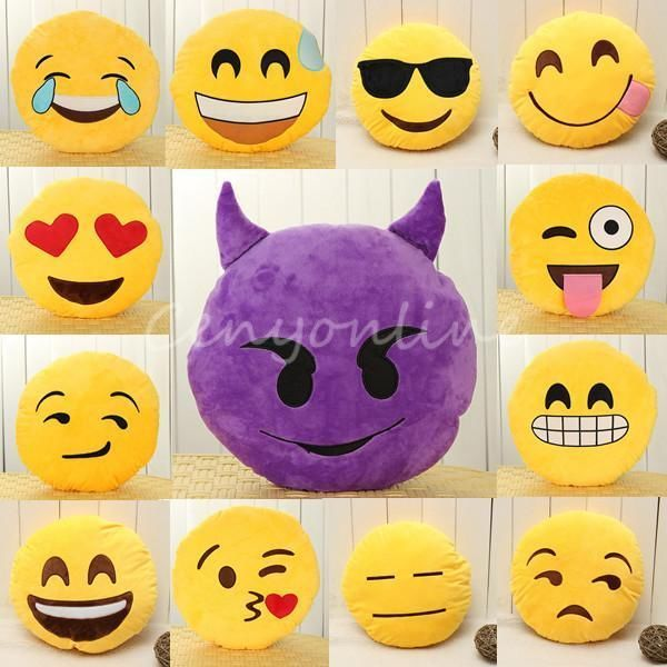 Cuscini Faccine Whatsapp.Emoji Smiley Emoticon Giallo Round Cuscino Guanciale Farcito