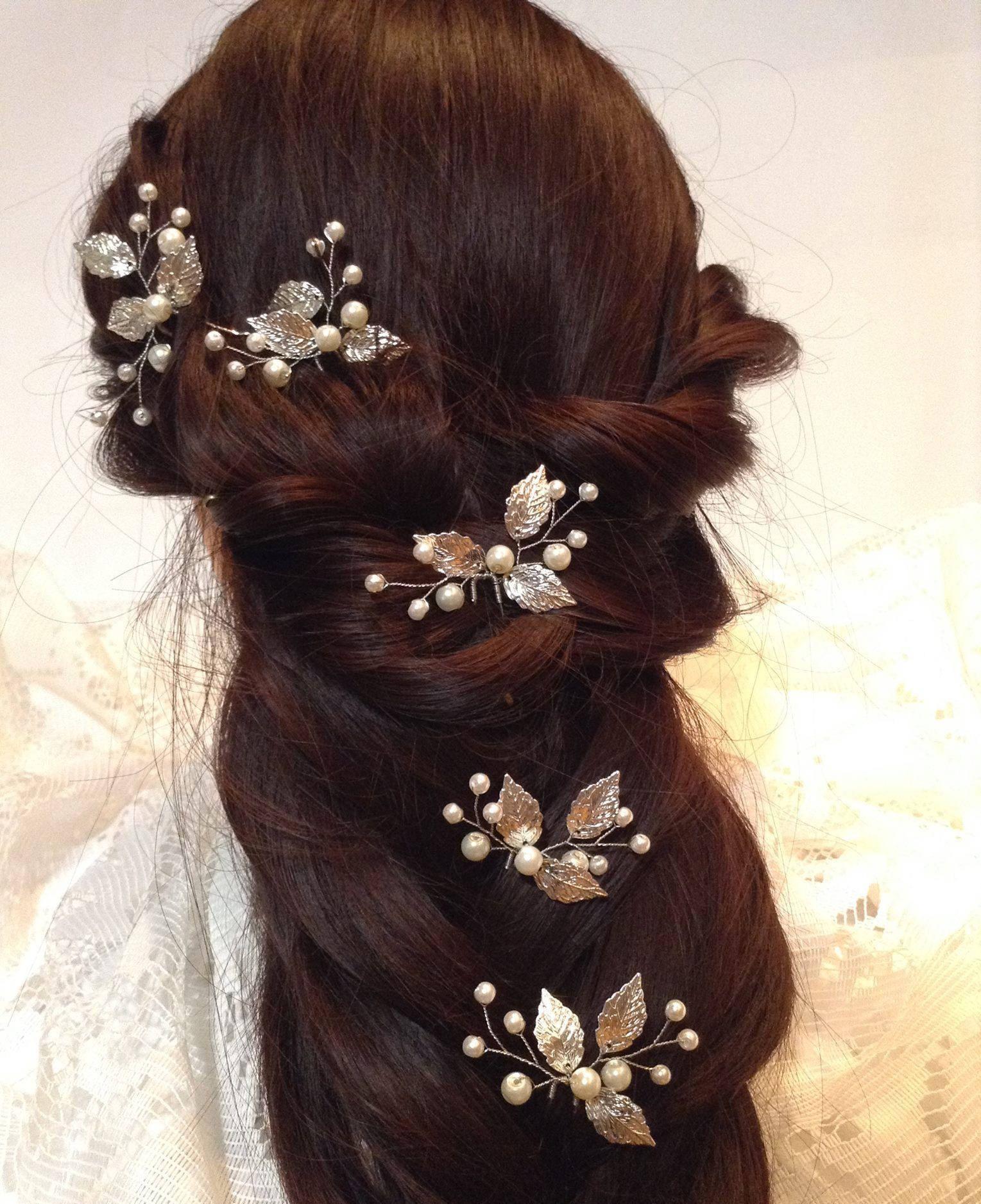 wedding hair barrette-bridal hair pins-silver leaves hair pins