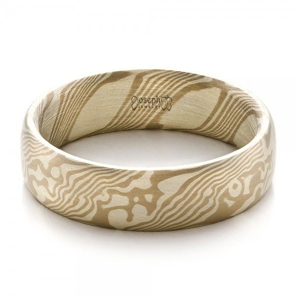 Mens Mokume Half Round Band Rounding and Ring