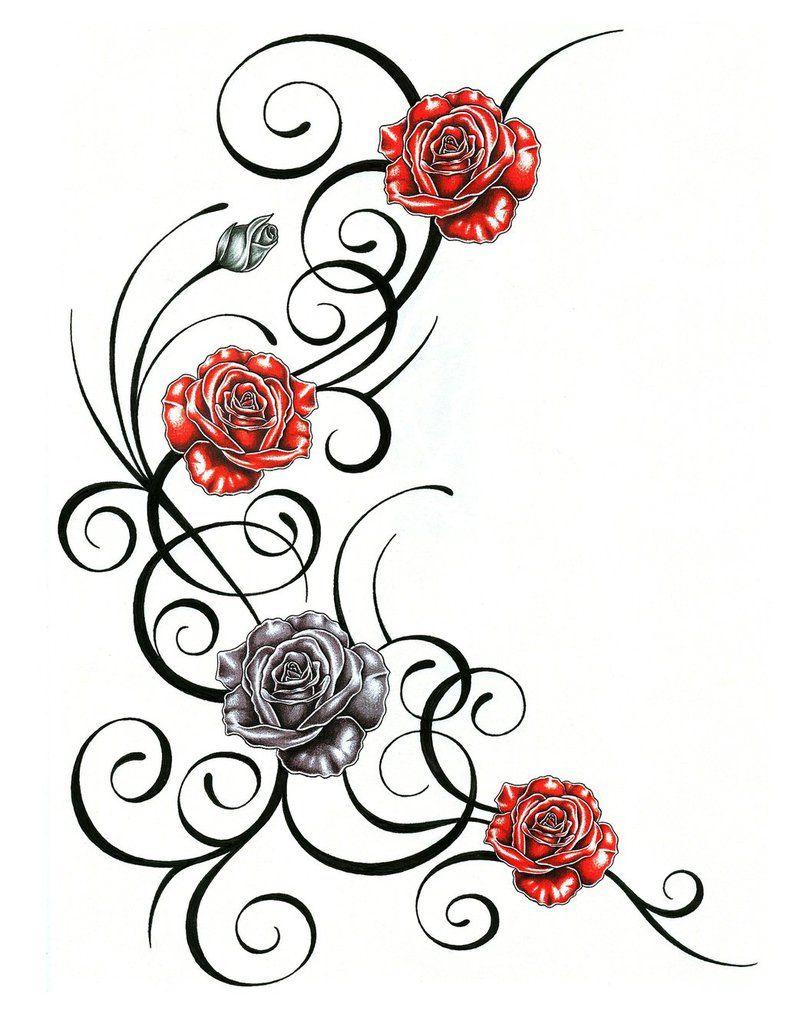 Afficher l 39 image d 39 origine fond papier scrap blumenranken tattoo rosenranke tattoo et - Dessin de rosier ...