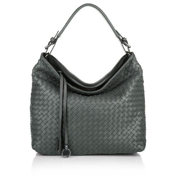 Pluma Intrecciato Leather Handbag Grey