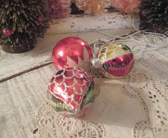 Three Vintage Red Christmas Hand Painted Glass / by vintageaddie