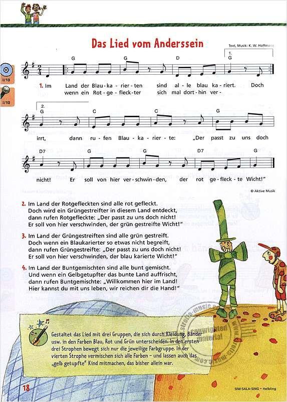 Singen, Musik, Lied vom Anderssein, Sozialverhalten  ~ Wasserhahn Lied