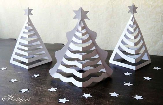 Hattifant - 3D Paper Christmas Trees Art December Ideas