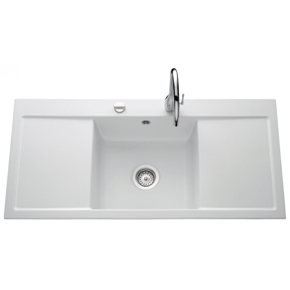 Single bowl double drainer stainless steel sink - White Ceramic Double Drainer Sink