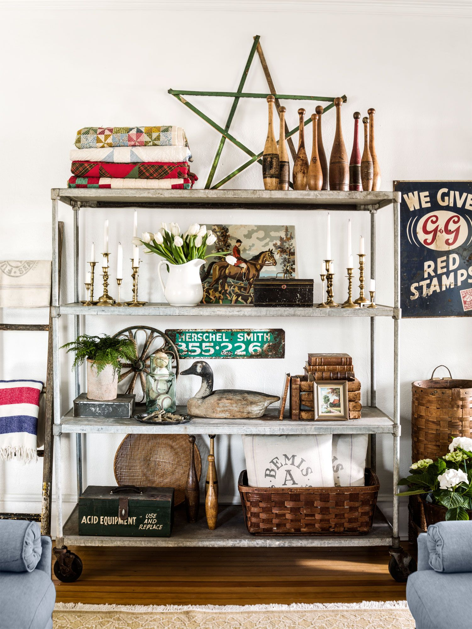 This 1934 farmhouse has the most unique collection of vintage finds in its living room.