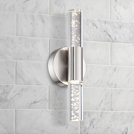"Bathroom Tube Sconces natalya bubble acrylic tube 13"" high led wall sconce 