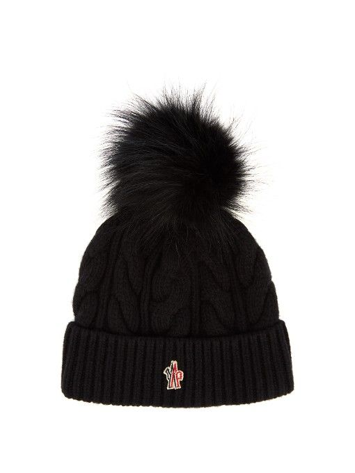 Moncler Grenoble Fur-pompom knitted beanie hat  988e9199aecd