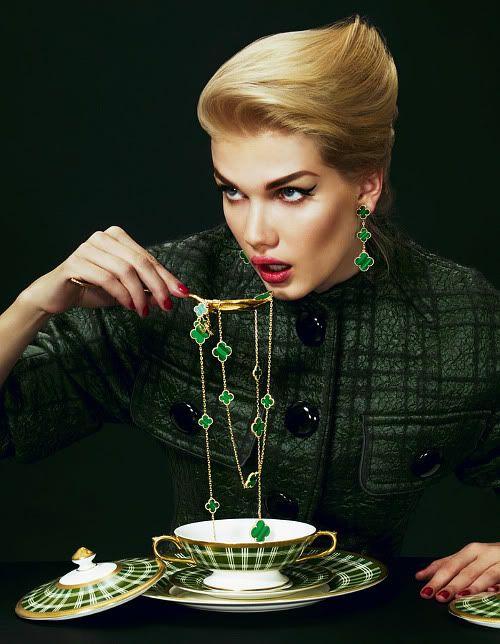 Malachite Alhambra Necklace + Earrings | Van Cleef ...