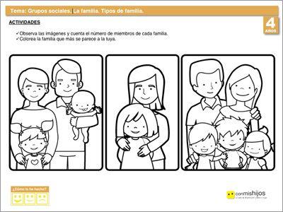 Tipos de familia fichas escolares de vida en sociedad for Concepto de la familia para ninos