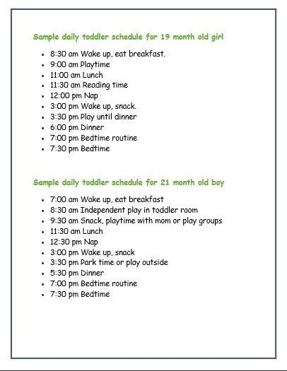 Sample Daily Toddler Schedules From Real Moms  Parents Babies