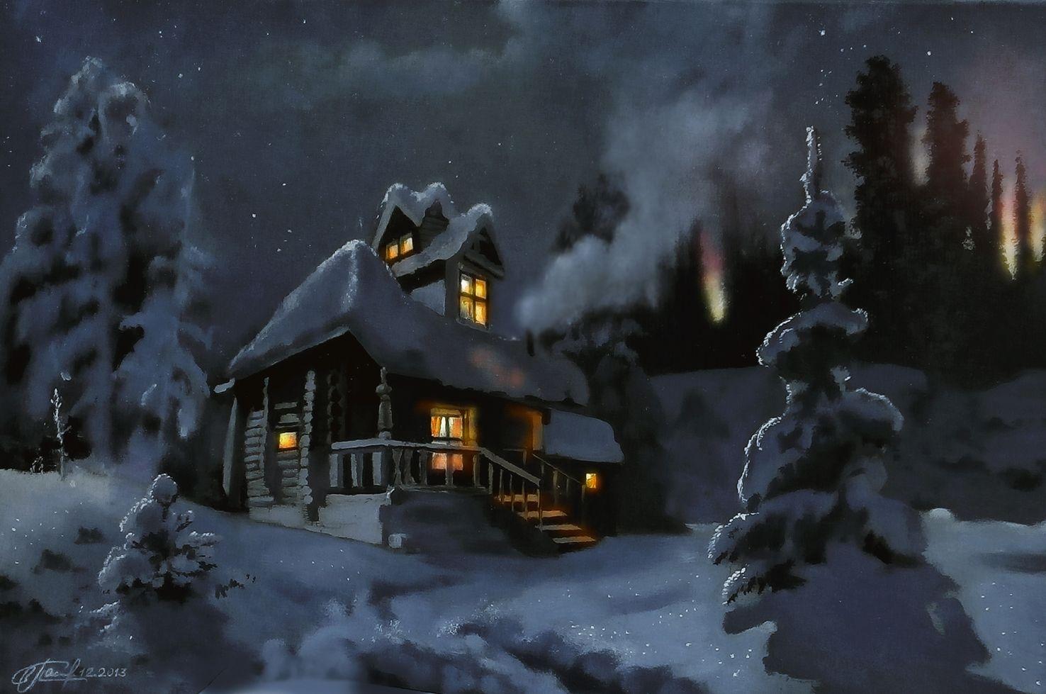 место новогодняя картинка с домом с дымом даньтянь часто переводят