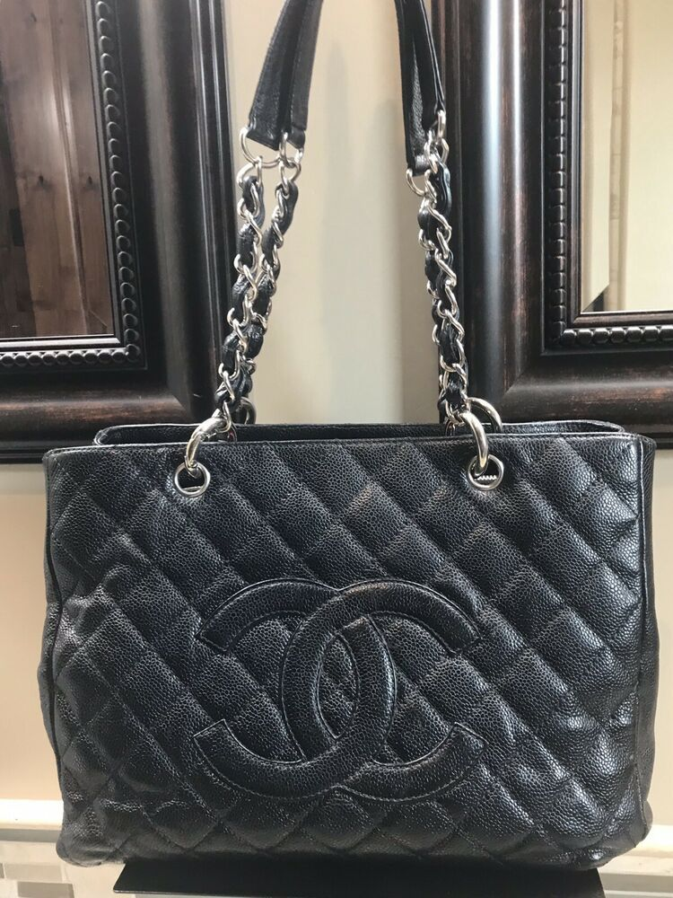 a45b129cd363 Authentic Chanel Black Quilted Caviar Grand Shopping Bag GST Silver Hardware