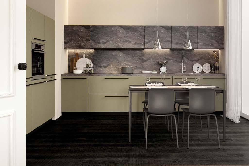 Sistematica SEGNO - Cucina ad angolo con colonne, laccata opaca, con ...