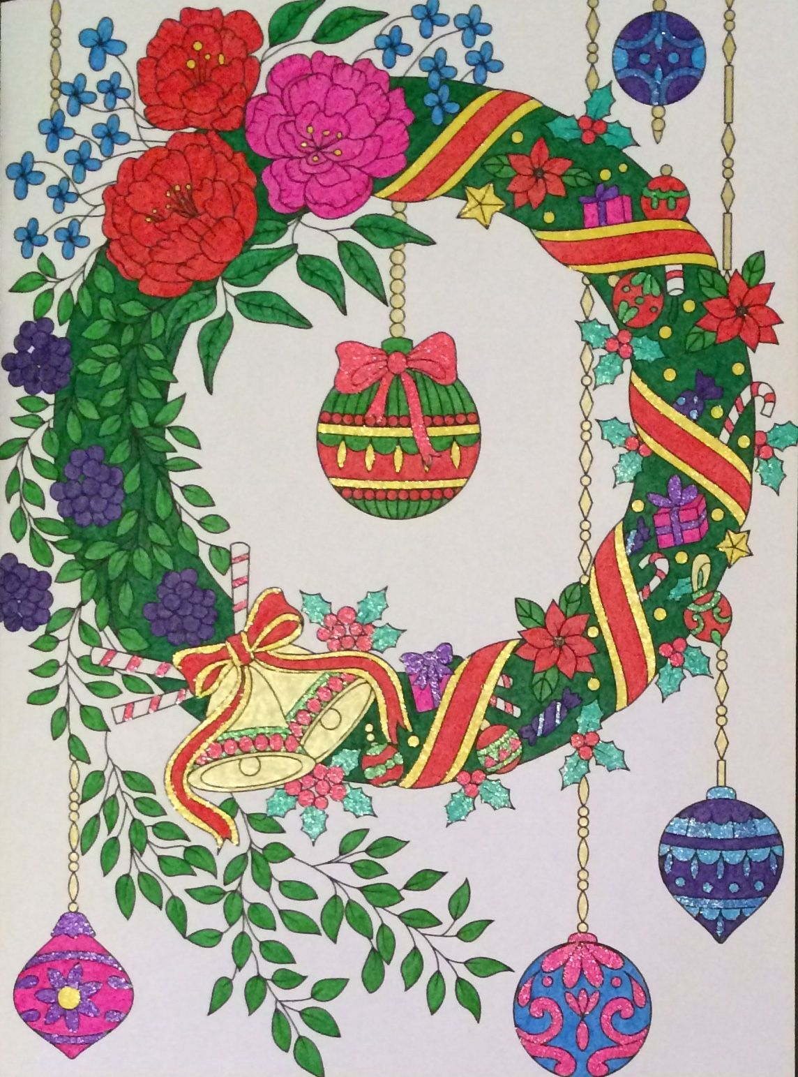 wreath from jade summer christmas book coloured by laura