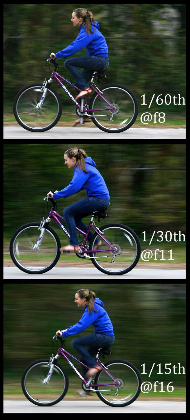 Experimenting with the shutter speed is the best way to determine the correct shutter/aperture combination for your situation. In this case, the 1/60th version doesn't imply enough motion to be effective; the 1/30 & 1/15th versions are better. (Copyright 2010 / Andrew Boyd)