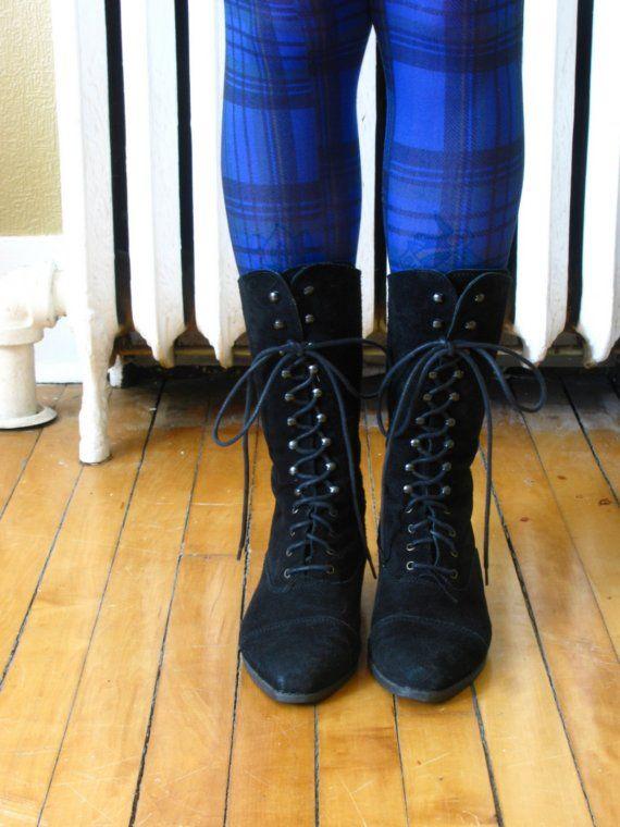 vintage BLACK SUEDE lace up granny boots 8