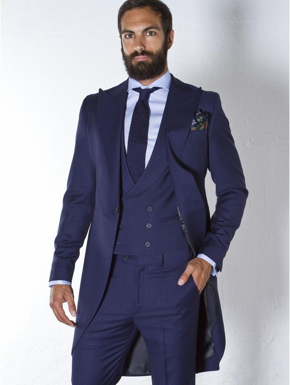 Handsome Long Navy Blue Mens Dinner Party Prom Suits Groom Tuxedos ...