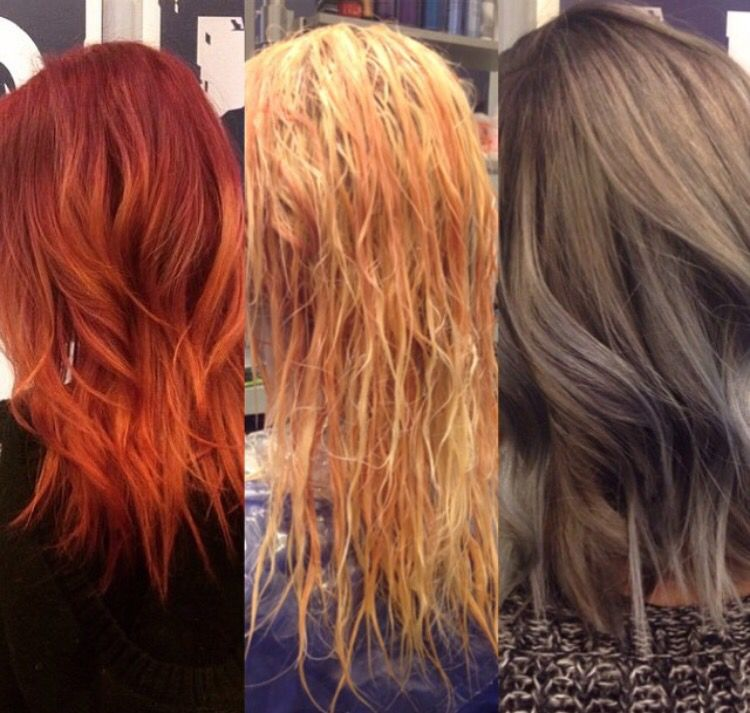 Before During After From Red To Gray Hair Using Goldwell And Joico Titanium Hair Long Hair Styles Red Hair