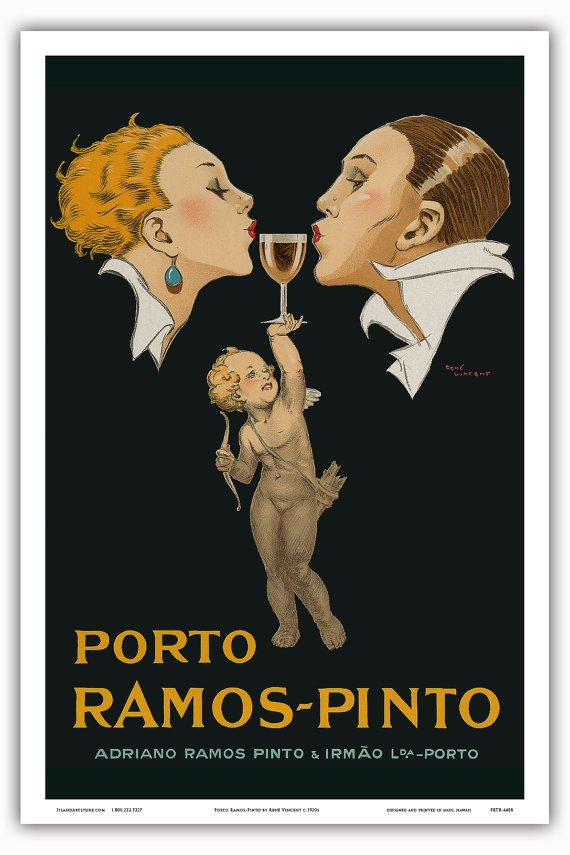 #LGLimitlessDesign  #Contest  12in x 18in Vintage Advertising Poster Art Print - Porto Ramos-Pinto Art Deco Couple Kiss Cupid Port Wine - PRTB4408