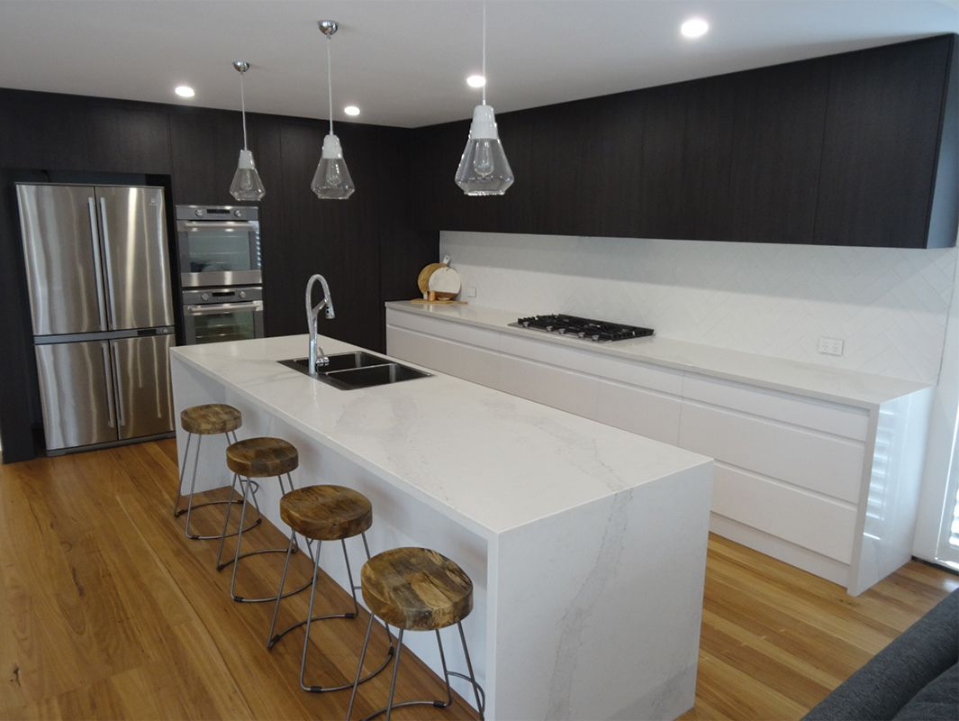 Elite kitchens bars newcastle caesarstone calacatta for Kitchen designs newcastle nsw