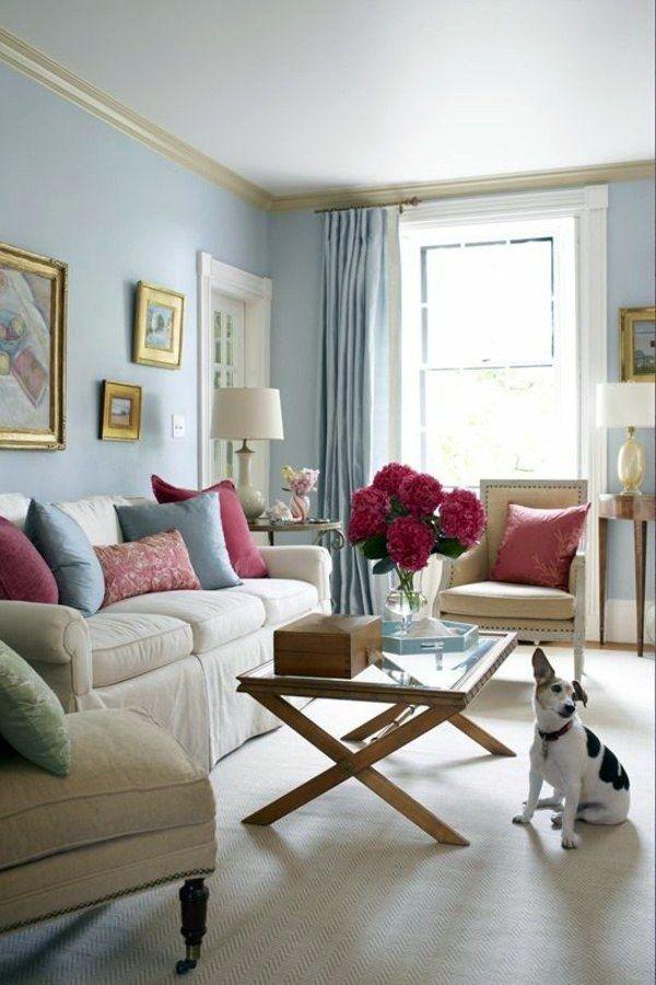 Slate Blue Wall Wall Design Ideas With Blue Hues Feminine Living Room Condo Decorating Blue Living Room #slate #blue #living #room