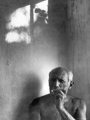 Pablo Picasso, Bare Chested and Smoking Cigarette Premium Photographic Print by Gjon Mili at AllPosters.com