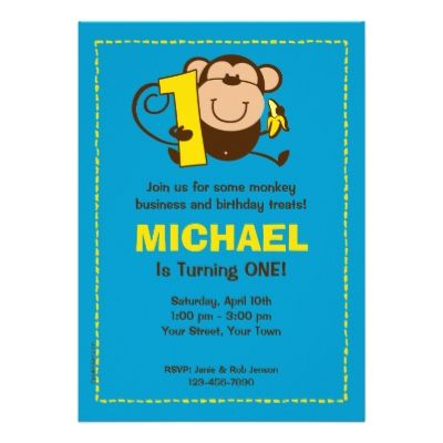 Little Monkey 1st Birthday Boy Custom Invitations Custom