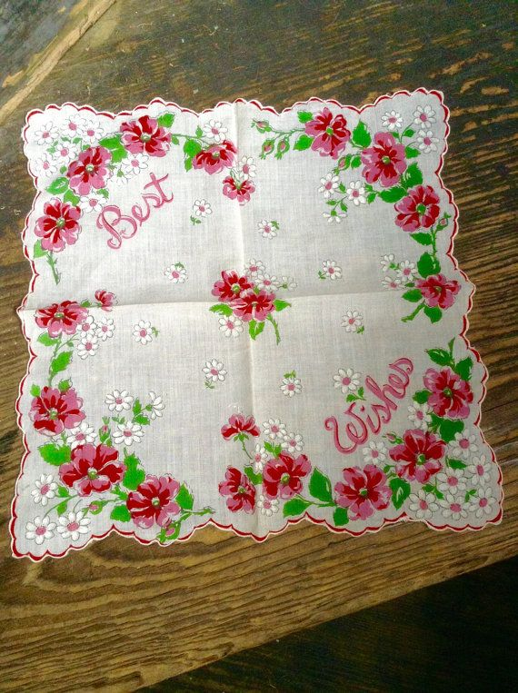 Pink Floral Handkerchief with greeting by MinaLucinda on Etsy