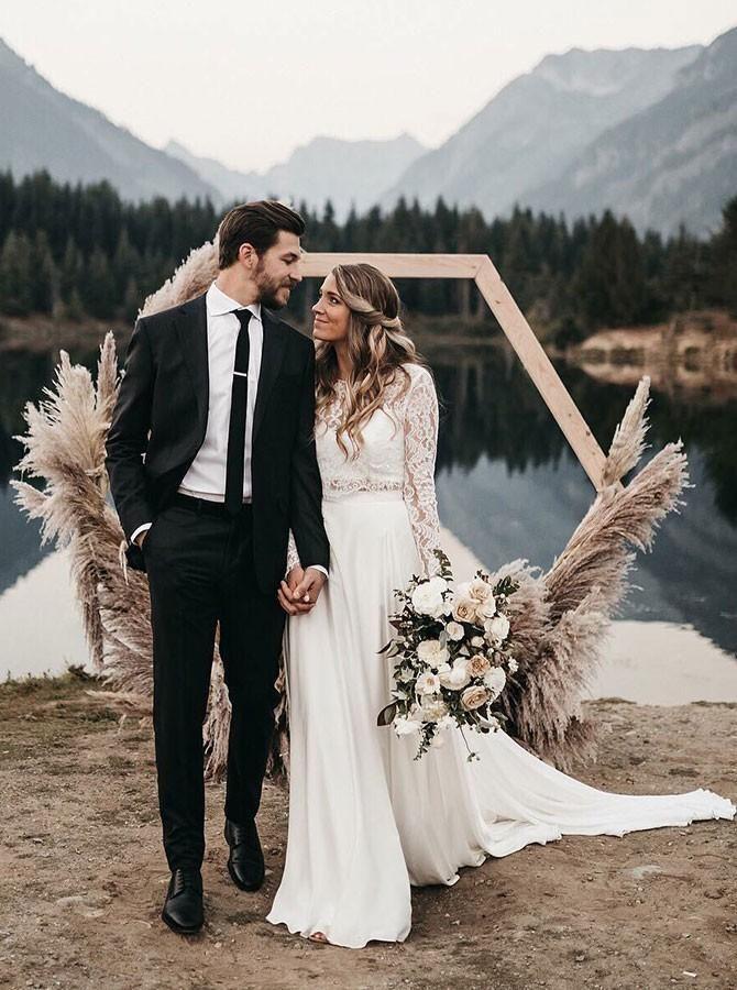 Two Piece Long Sleeves Lace Top White Chiffon Wedding Dress