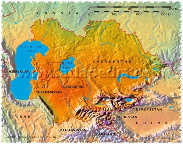 Physical Map of Kazakhstan Uzbekistan Turkmenistan Tajikistan